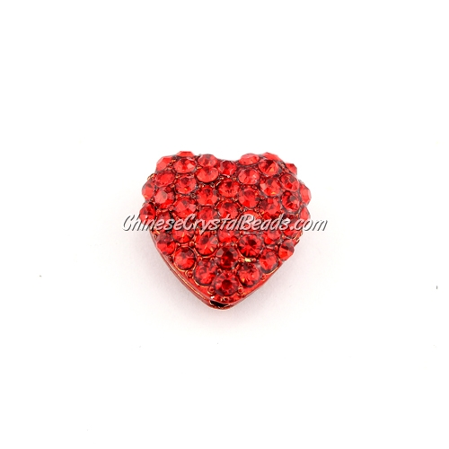 pave heart cube beads, 18mm, red, 1 piece