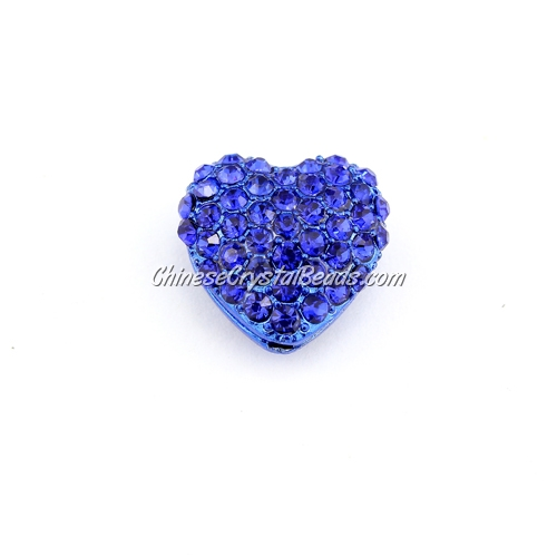 pave heart cube beads, 18mm, sapphire, 1 piece