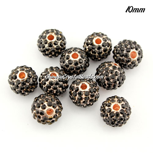 alloy pave disco beads, 10mm, 1.5mm hole, 80pcs black crystal stone, rose gold plated, sold per pkg of 10pcs