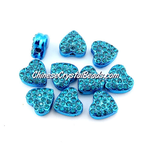 Pave heart beads, alloy, aqua, hole 1.5mm, 6x10x10mm, sold 10pcs