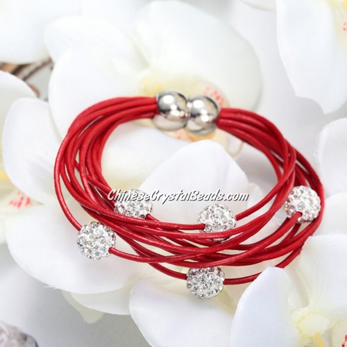 Pave clay Bead Multi Strand Leather Bracelet Red