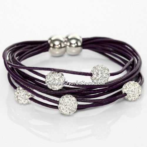 Pave Clay Bead Multi Strand Leather Magnetic Bracelet Purple