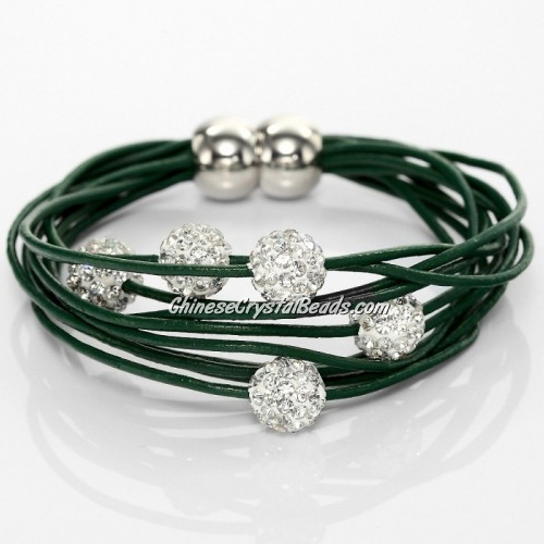 Pave Clay Bead Multi Strand Leather Magnetic Bracelet Green
