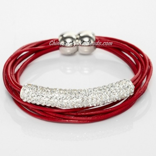 Rhinestone Clay Tube Multi Strand Leather Magnetic Bracelet Red