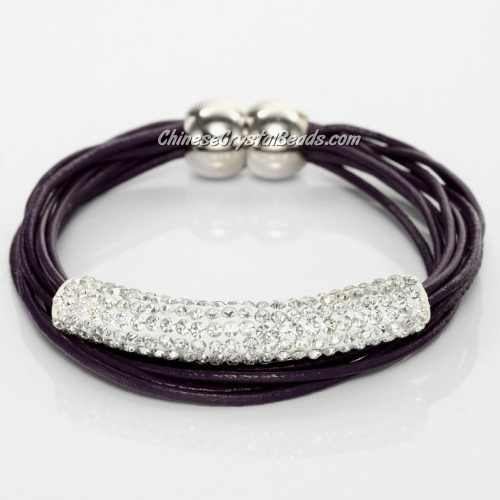 Rhinestone Clay Tube Multi Strand Leather Magnetic Bracelet Purple