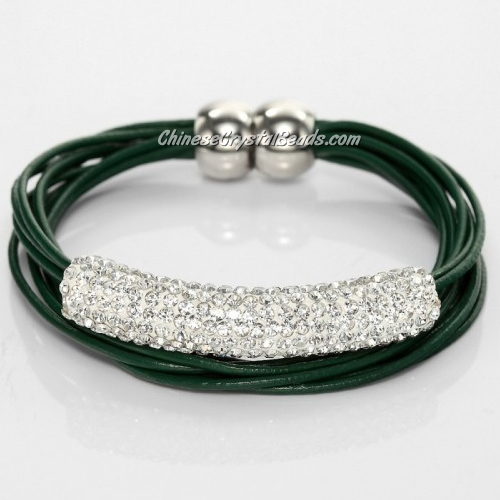 Rhinestone clay Tube Multi Strand Leather Magnetic Bracelet Green