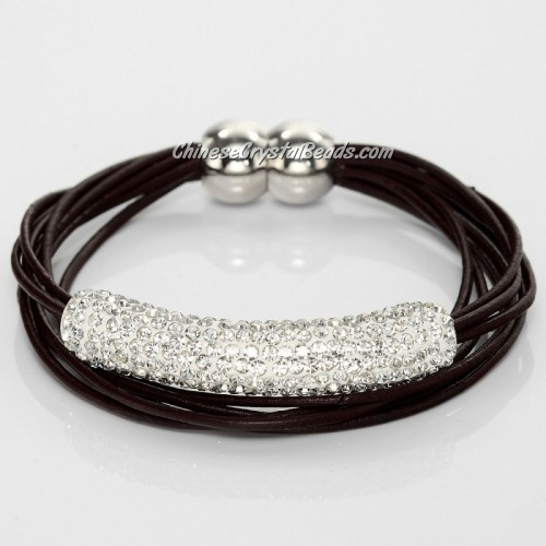 Rhinestone clay Tube Multi Strand Leather Magnetic Bracelet Coffee