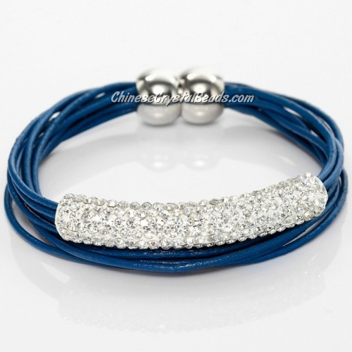Rhinestone clay Tube Multi Strand Leather Magnetic Bracelet Blue