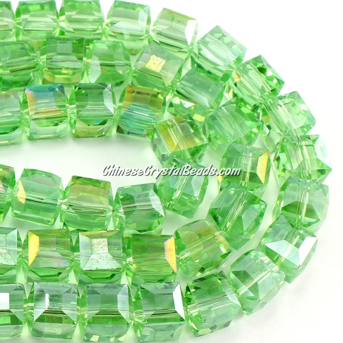 crystal cube beads, 10mm, lime green AB, sold per pkg of 20pcs