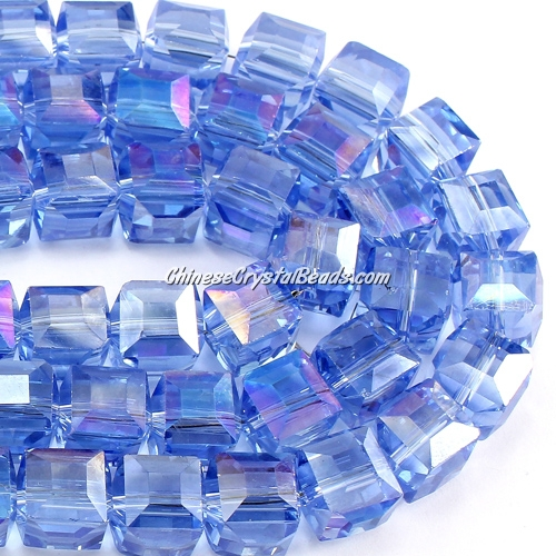 crystal cube beads, 10mm, lt sapphire AB, sold per pkg of 20pcs