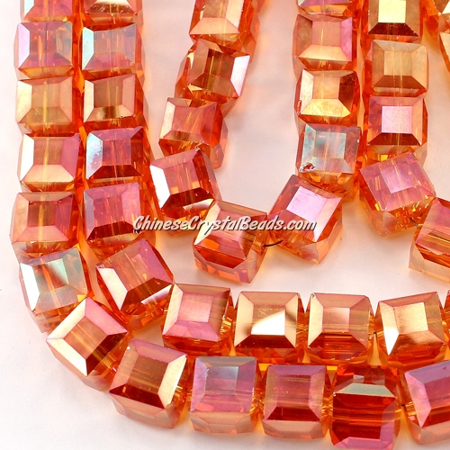 crystal cube beads, 10mm, orange AB, sold per pkg of 20pcs