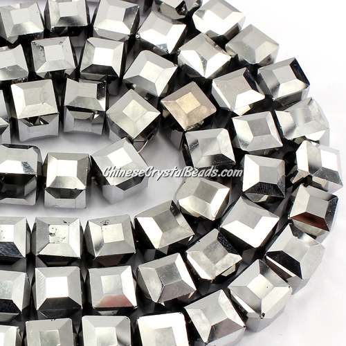 crystal cube beads, 10mm, silver AB, sold per pkg of 20pcs