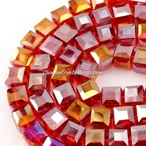 crystal cube beads, 10mm, lt siam AB, sold per pkg of 20pcs