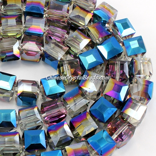 crystal cube beads, 10mm, Blue light and plum, sold per pkg of 20pcs