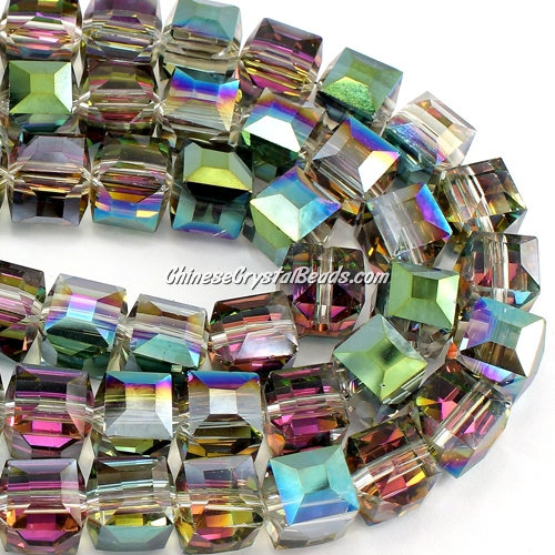 crystal cube beads, 10mm, Green light and plum, sold per pkg of 20pcs
