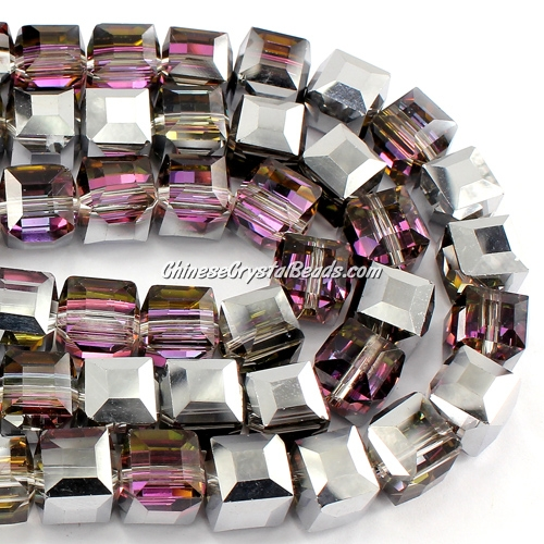 crystal cube beads, 10mm, silver light and plum, sold per pkg of 20pcs