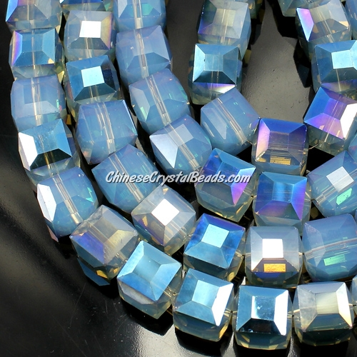 crystal cube beads, 10mm, opal blue, sold per pkg of 20pcs