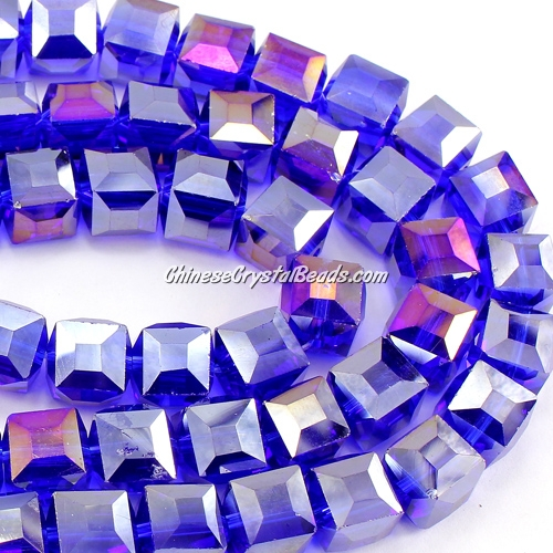 crystal cube beads, 10mm, sapphire AB, sold per pkg of 20pcs