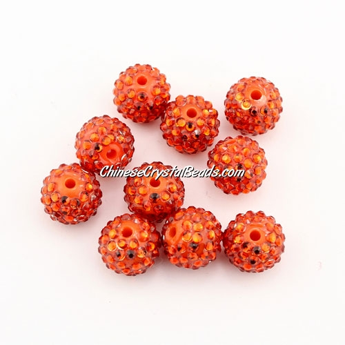 Pave Beads, resin, pave disco beads, orange, 10mm, 10 pcs