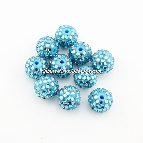 Pave disco Resin disco beads, aqua, 10mm, 10 pcs