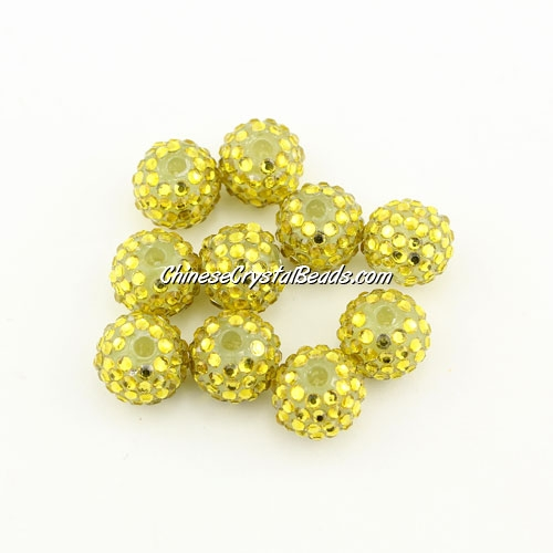 Pave disco Resin disco beads, yellow #1, 10mm, 10 pcs