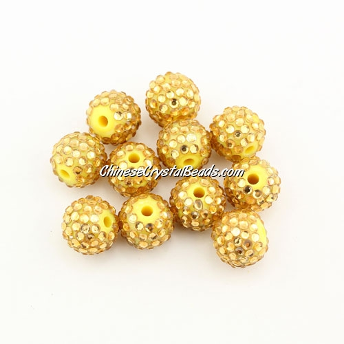 Pave disco Resin disco beads, yellow #2, 10mm, 10 pcs
