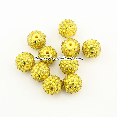 Pave disco Resin disco beads, yellow #3, 10mm, 10 pcs