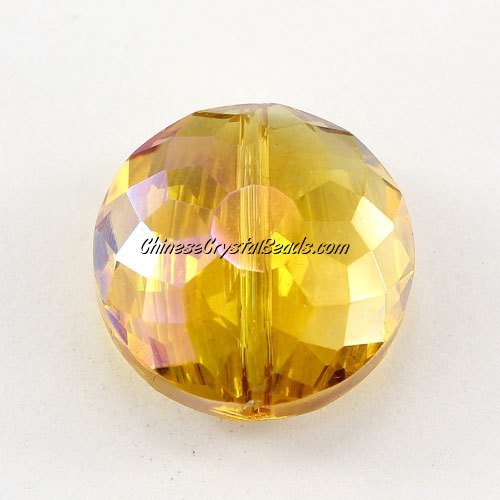 Chinese crystal round sunflower pendant, Amber AB, 11x18x18mm, PKG 10 pendant