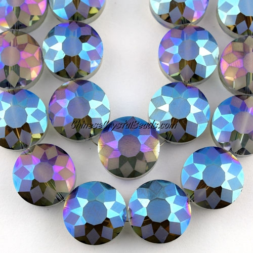 crystal frosted sunflower pendant, blue light, 9x14x14mm, sold per pkg of 12pcs