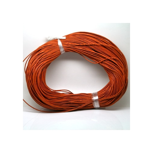 Round Leather Cord, orange , (1mm, 1.5mm, 2mm), Sold by the Meter