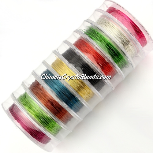 Wire, color-coated copper, round, 0.3mm x 10 meter. 10 spool,