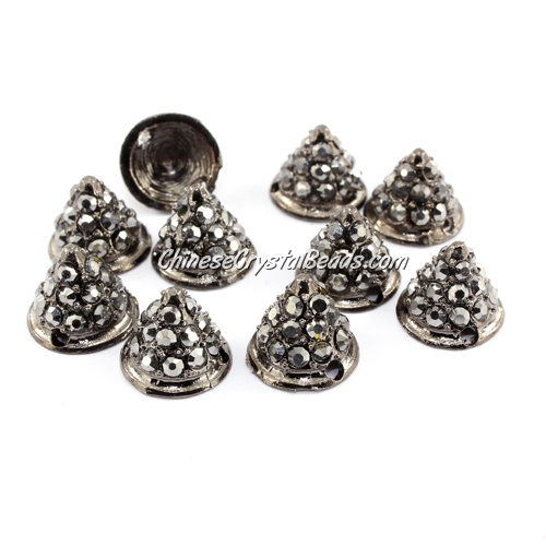 Pave crystl Spike Beads, 9x11x11mm, gun-metal, 10 pieces