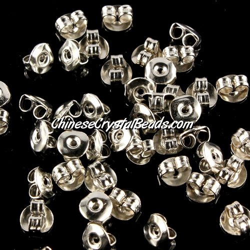 Earnut, silver-plated, 5x3mm. Sold per pkg of 50 pairs.