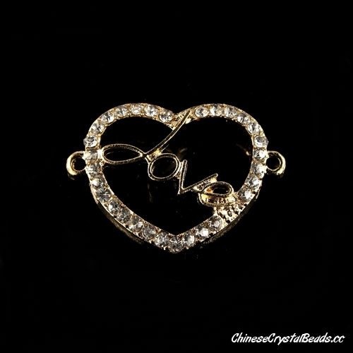 Pave love heart charms, gold pated brass, connector link fit braided bracelet DIY finding, sold 1 pcs
