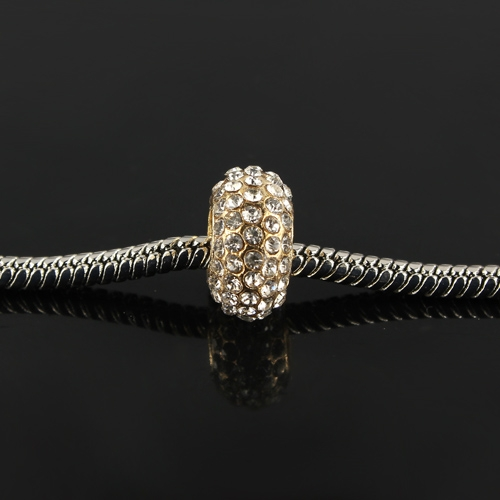 Pave European Beads, Alloy, Full Crystal Rhinestone, gold plated brass, sold per pkg of 9 pcs