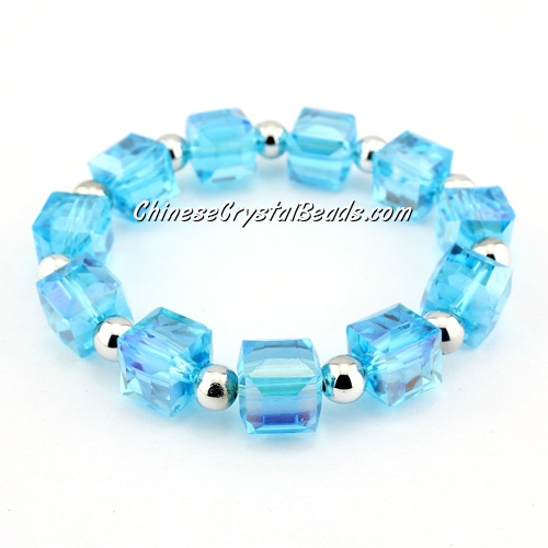 10mm cube crystal beads bracelet, 6mm CCB, aqua