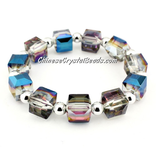 10mm cube crystal beads bracelet, 6mm CCB, Blue and purple