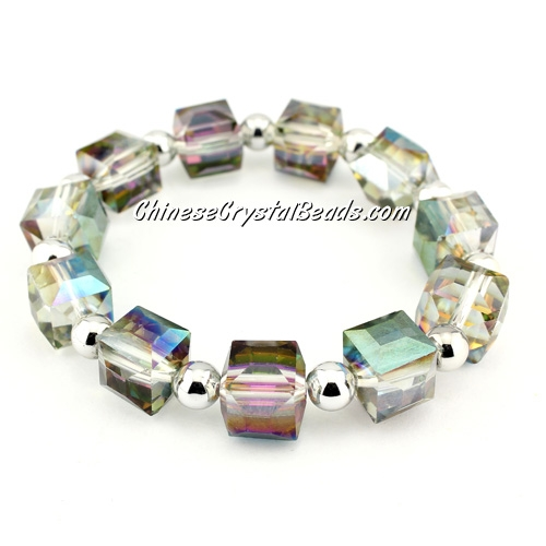 10mm cube crystal beads bracelet, 6mm CCB, green and purple