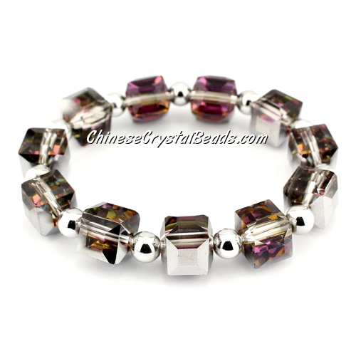 10mm cube crystal beads bracelet, 6mm CCB, silver and purple