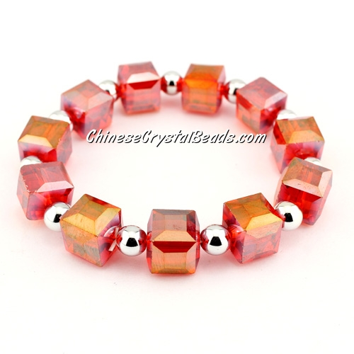10mm cube crystal beads bracelet, 6mm CCB, lt.siam AB