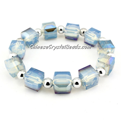 10mm cube crystal beads bracelet, 6mm CCB, Opal blue light