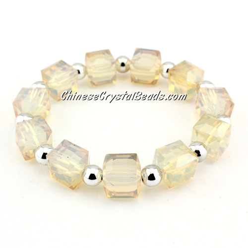 10mm cube crystal beads bracelet, 6mm CCB, opal yellow light