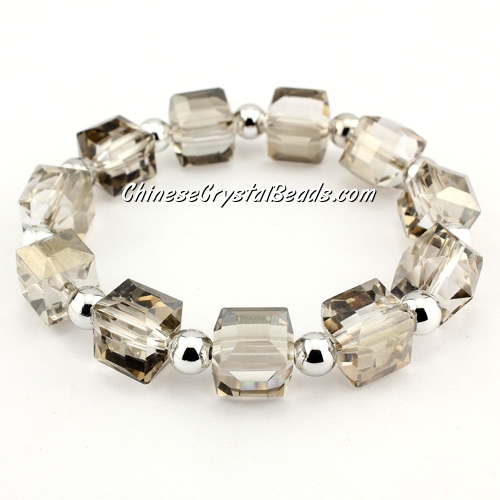 10mm cube crystal beads bracelet, 6mm CCB, silver shade