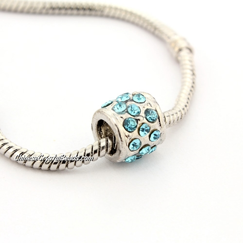 Pave Pave European Beads, alloy, silver plated and aqua CZ, 9x9x9mm, hole: 5mm, sold per pkg of 9pcs