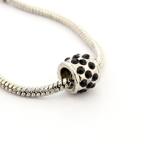 Pave Pave European Beads, alloy, silver Plated and black CZ, 9x9x9mm, hole: 5mm, sold per pkg of 9pcs