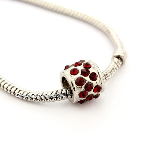 Pave Pave European Beads, alloy, silver plated and Red CZ, 9x9x9mm, hole: 5mm, sold per pkg of 9pcs