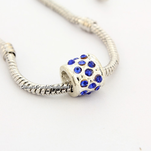 Pave Pave European Beads, alloy, silver plated and sapphire CZ , 9x9x9mm, hole: 5mm, sold per pkg of 9pcs