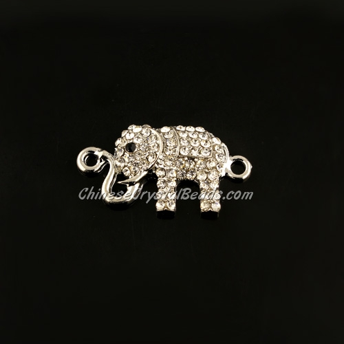 pave crystal elephant charms, 32x17mm, silver plsted, 1 piece
