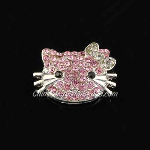 pave pink crystal cat charms, 20x27mm, silver plated, 1 pieces