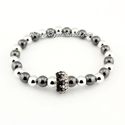 Pave European Beads Bracelet, Black and white, length about 6.5""